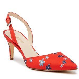 Nine West Epiphany Slingback Heels Red Floral 7